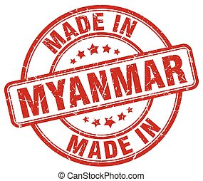 made in Myanmar red grunge round stamp