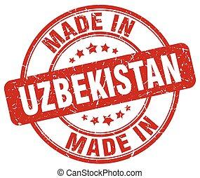 made in Uzbekistan red grunge round stamp