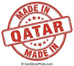 made in Qatar red grunge round stamp