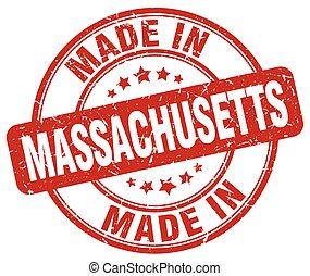 made in Massachusetts red grunge round stamp