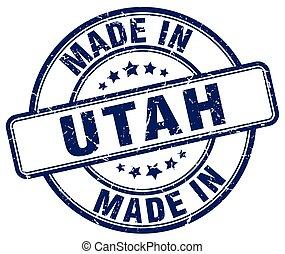 made in Utah blue grunge round stamp