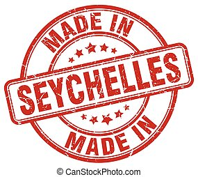made in Seychelles red grunge round stamp