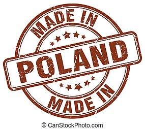 made in Poland brown grunge round stamp