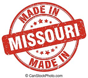 made in Missouri red grunge round stamp