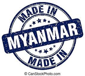 made in Myanmar blue grunge round stamp