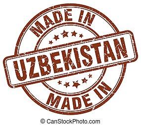 made in Uzbekistan brown grunge round stamp