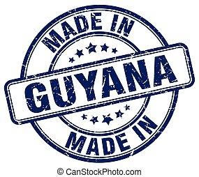 made in Guyana blue grunge round stamp