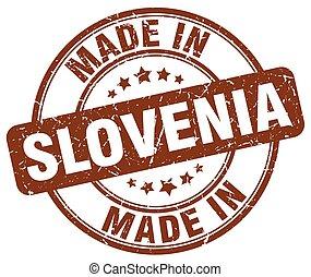 made in Slovenia brown grunge round stamp