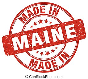 made in Maine red grunge round stamp