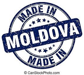 made in Moldova blue grunge round stamp