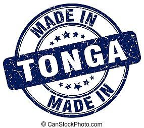 made in Tonga blue grunge round stamp