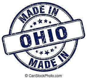 made in Ohio blue grunge round stamp