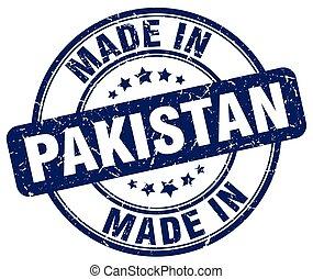 made in Pakistan blue grunge round stamp