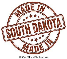 made in South Dakota brown grunge round stamp