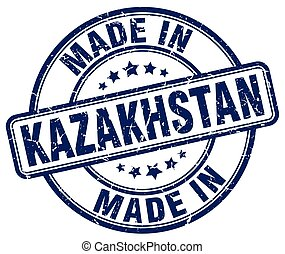 made in Kazakhstan blue grunge round stamp