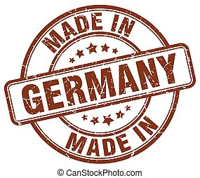 made in Germany brown grunge round stamp