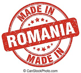 made in Romania red grunge round stamp