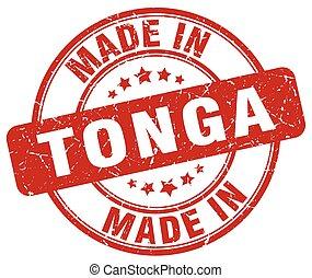 made in Tonga red grunge round stamp