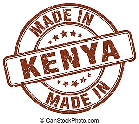 made in Kenya brown grunge round stamp
