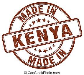 made in Kenya brown grunge round stamp