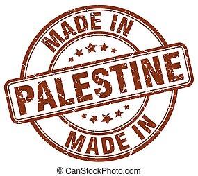 made in Palestine brown grunge round stamp