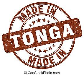 made in Tonga brown grunge round stamp