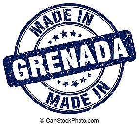 made in Grenada blue grunge round stamp