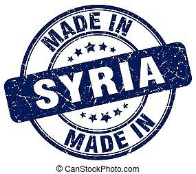 made in Syria blue grunge round stamp