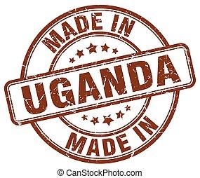 made in Uganda brown grunge round stamp