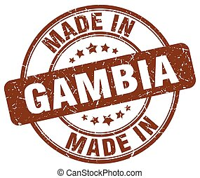 made in Gambia brown grunge round stamp