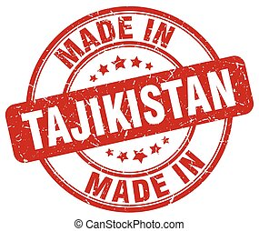 made in Tajikistan red grunge round stamp