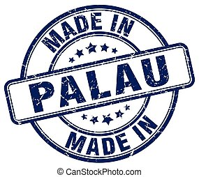 made in Palau blue grunge round stamp