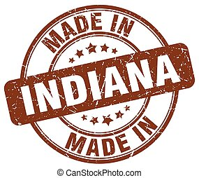 made in Indiana brown grunge round stamp