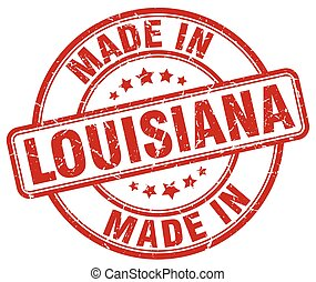 made in Louisiana red grunge round stamp