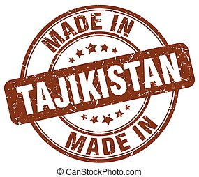 made in Tajikistan brown grunge round stamp