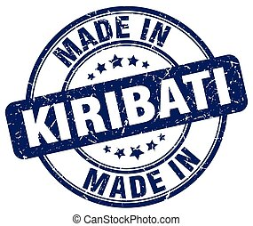made in Kiribati blue grunge round stamp