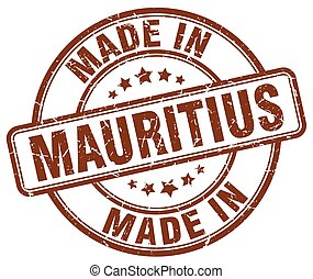 made in Mauritius brown grunge round stamp