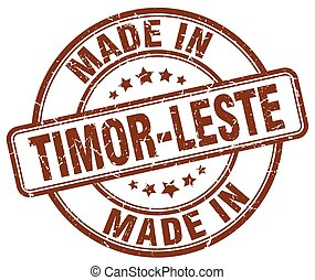 made in Timor-Leste brown grunge round stamp