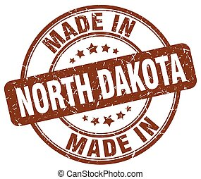 made in North Dakota brown grunge round stamp