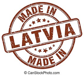 made in Latvia brown grunge round stamp