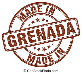 made in Grenada brown grunge round stamp