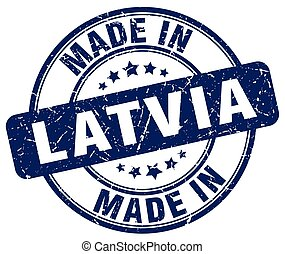 made in Latvia blue grunge round stamp
