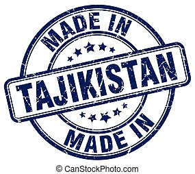 made in Tajikistan blue grunge round stamp