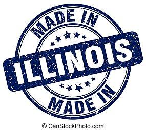 made in Illinois blue grunge round stamp
