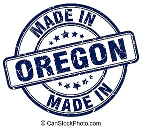 made in Oregon blue grunge round stamp