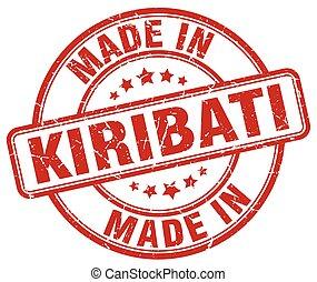 made in Kiribati red grunge round stamp