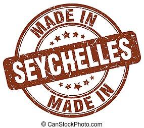 made in Seychelles brown grunge round stamp