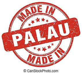 made in Palau red grunge round stamp