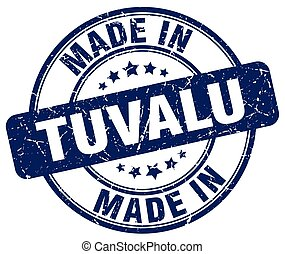 made in Tuvalu blue grunge round stamp