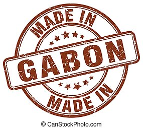 made in Gabon brown grunge round stamp
